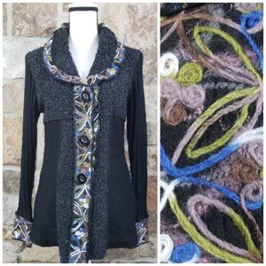 Sioni Embroidered Mohair Cardigan Sweater Jacket M